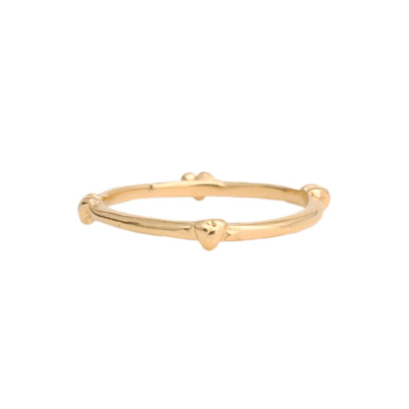 gold band with hearts
