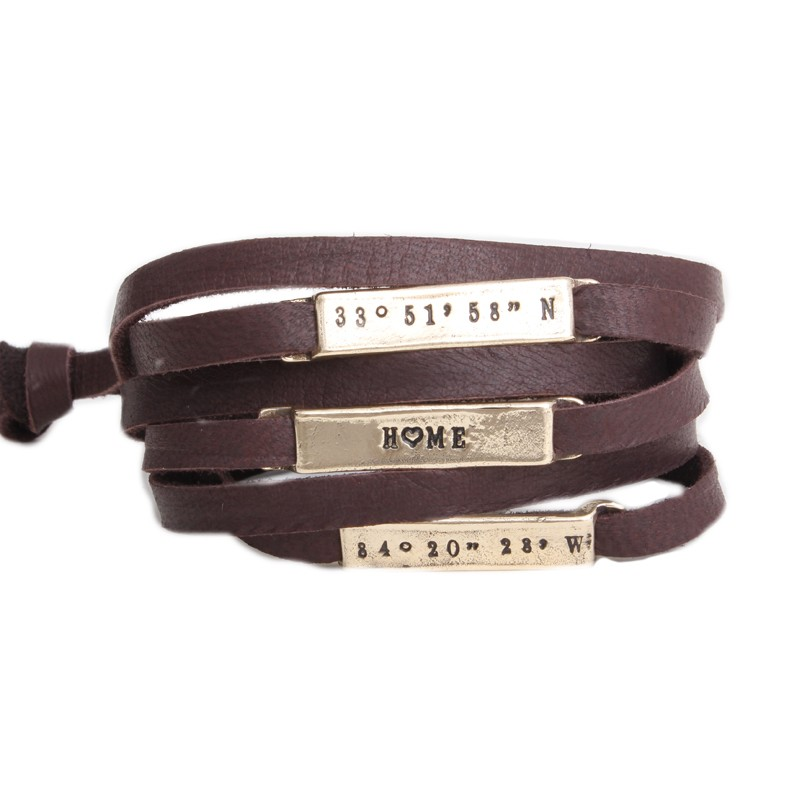 Leather Wrap Bracelet With Personalized Gold Nameplates Loading Zoom