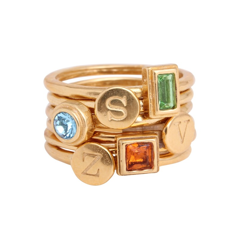 design your own gold stackable rings with initial and