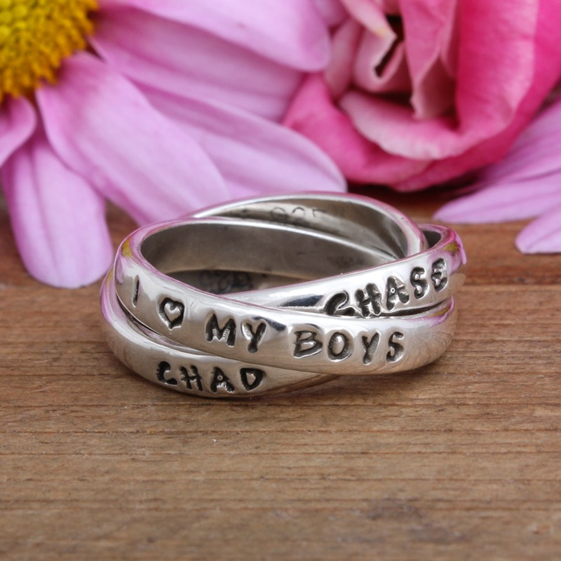 customized ring with I love My boys