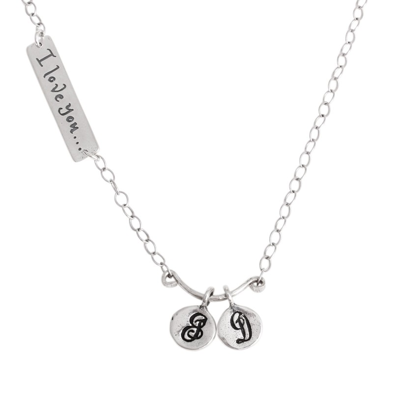 I love you to the moon and back necklace with initial charms