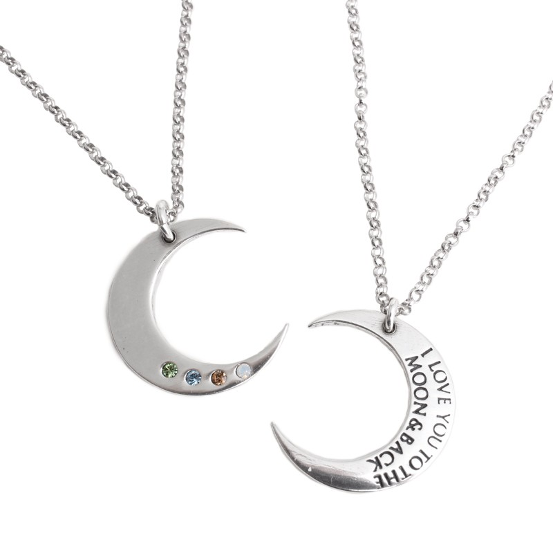 Personalized birthstone necklace with moon charm in silver.
