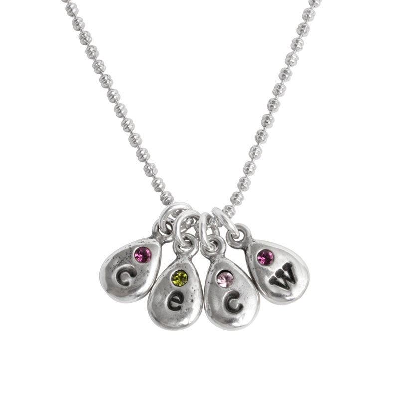 Grandmother's initial and birthstone charm necklace