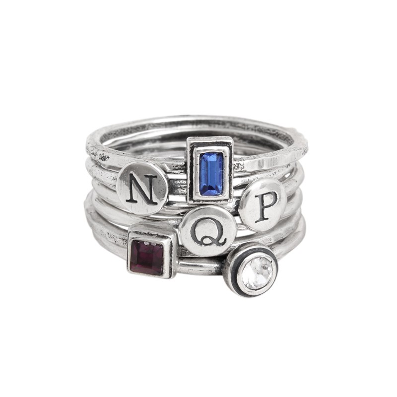 silver stack rings with initials and birthstones