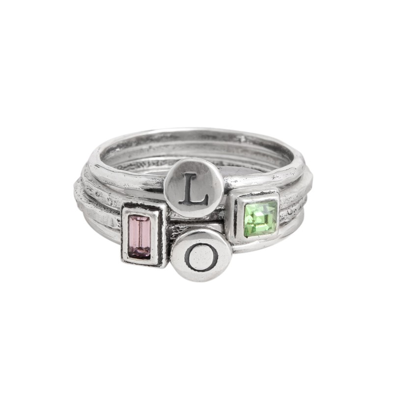 silver stacking rings with initials and birthstones