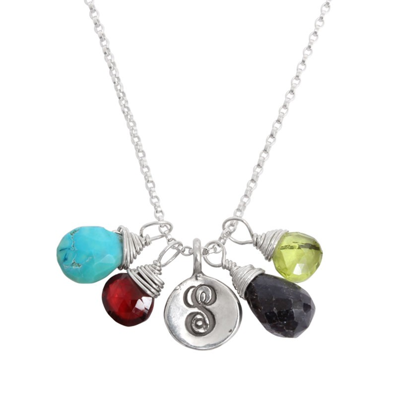 natural stone birthstone initial necklace for mothers