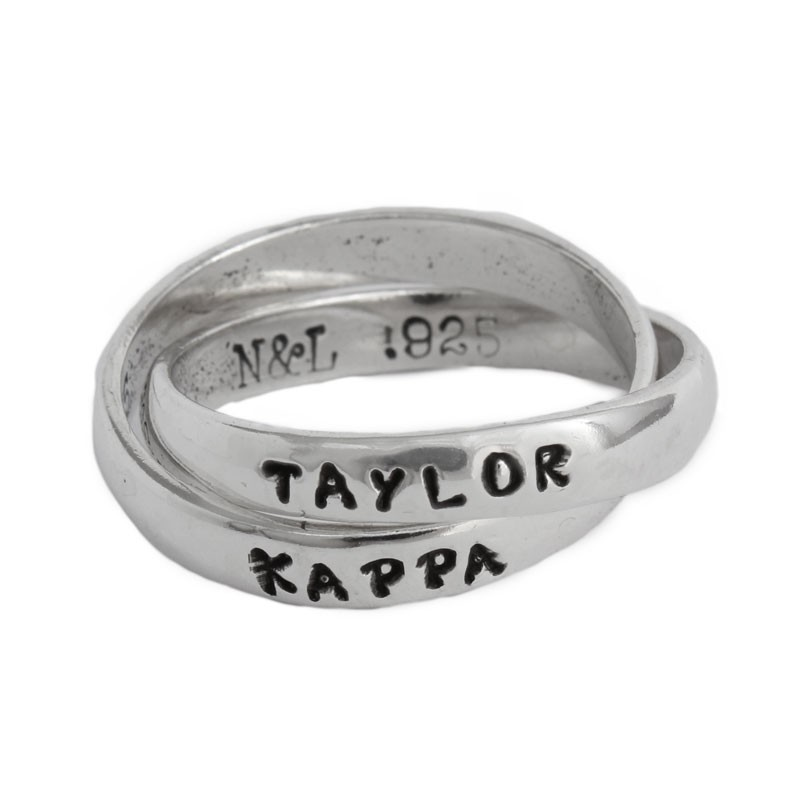 kappa kappa gamma sorority ring with name in sterling silver