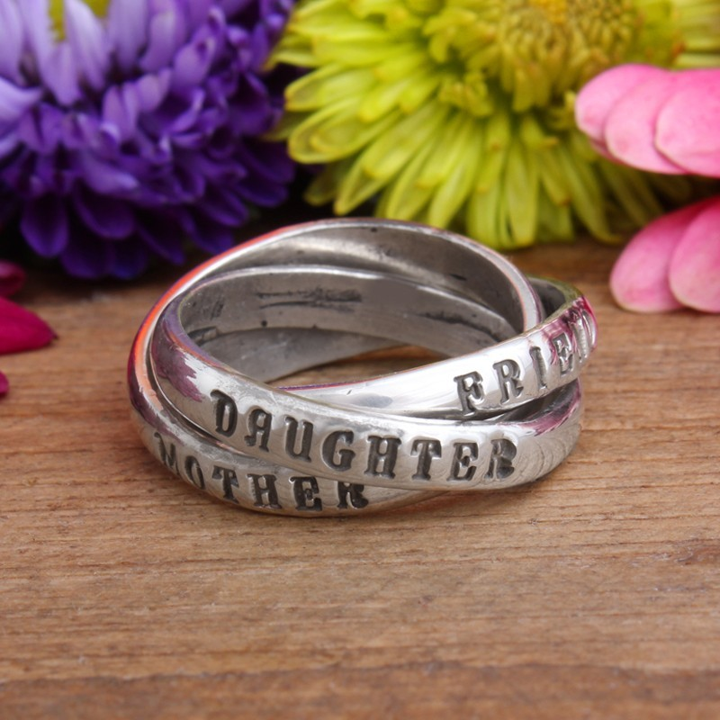 mother daughter friend ring in sterling silver