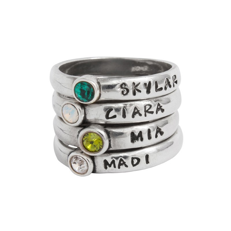 grandmother of four kids stackable birthstone rings