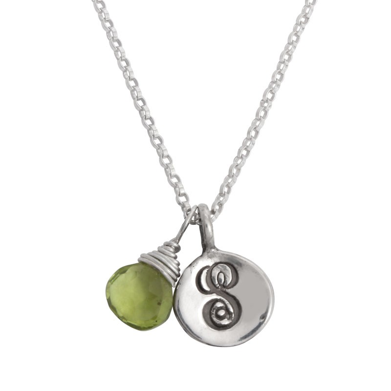 Mother's Necklace with Initial and Birthstone