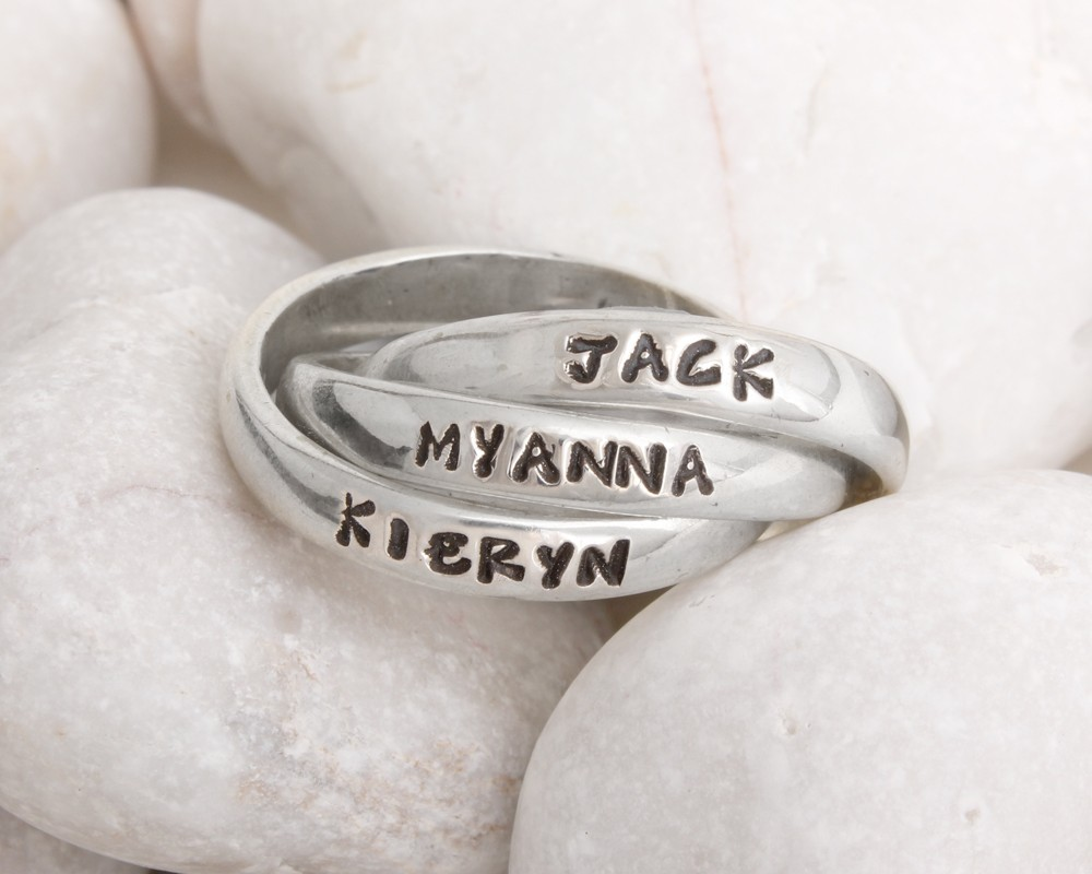 Stamped Mother's Name ring