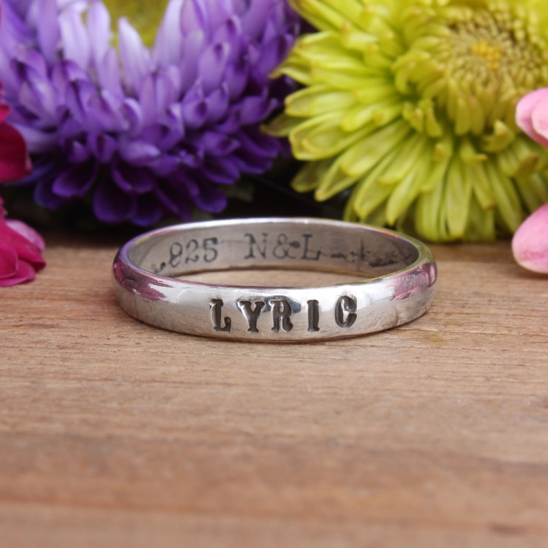 family name ring sterling silver band