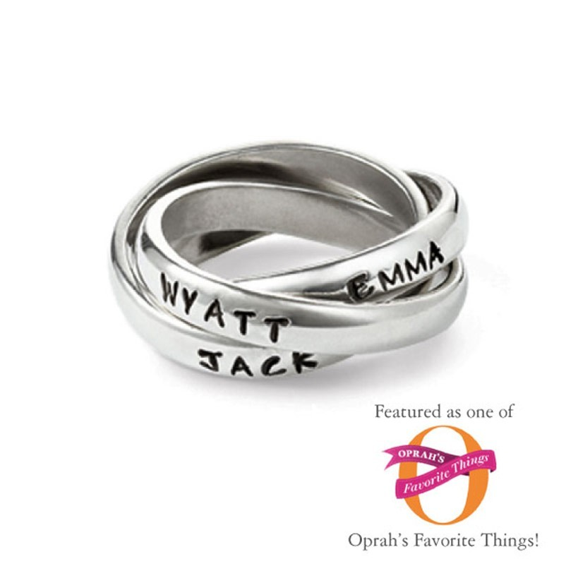 Triple Personalized Mothers Ring Handstamped