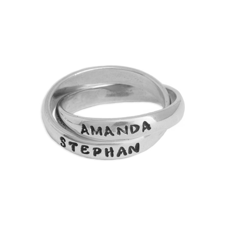 Personalized Double Grandmothers Name Rings Stamped