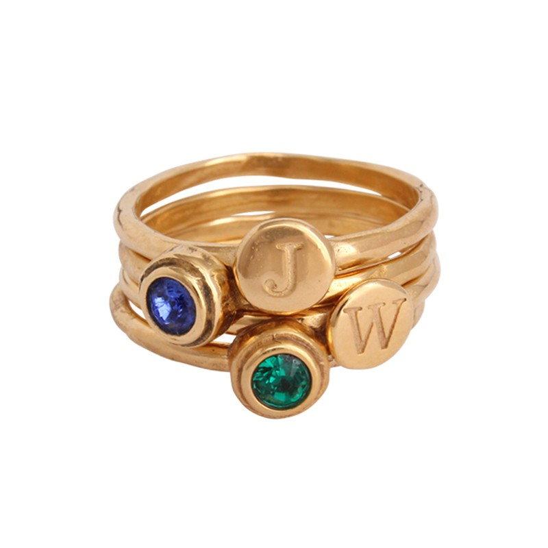 gold stack birthstone rings and stack initial rings