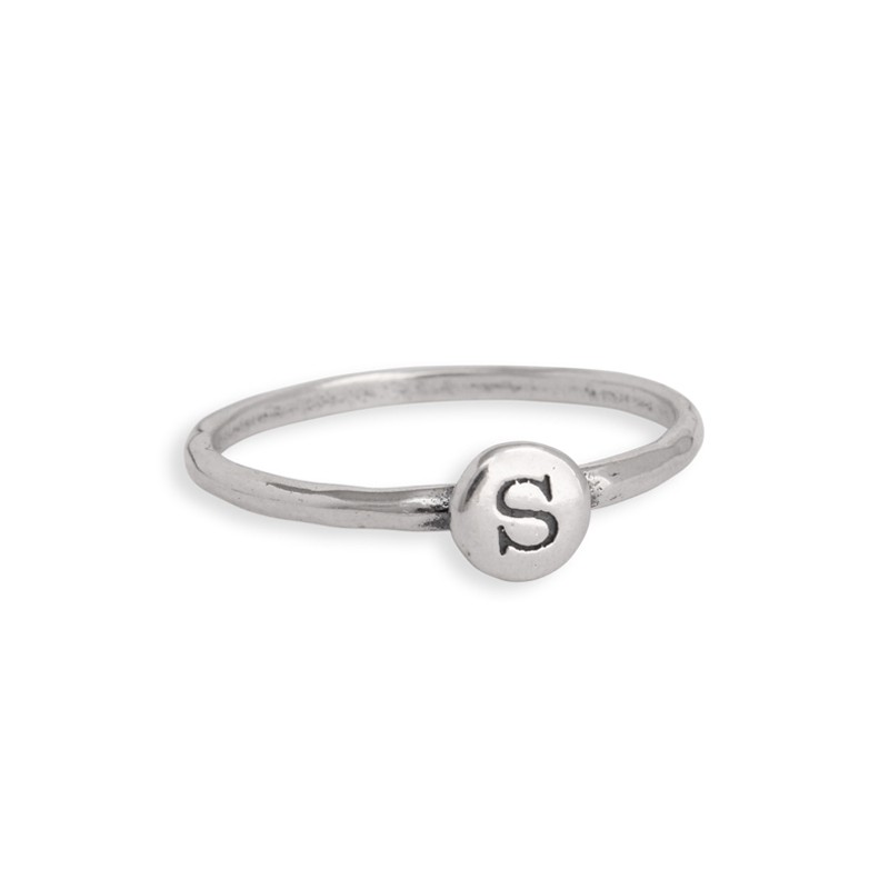 Set of three initial stack rings in silver