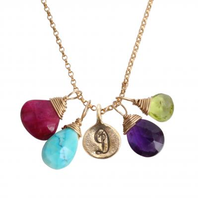 gold necklace with intial charm and natural birthstones
