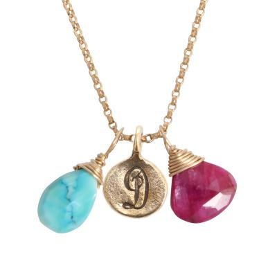 grandmother of two initial and birthstone gold necklace
