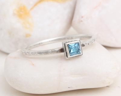 birthstone square silver ring
