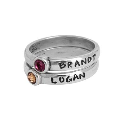 Personalized Stack Mothers Name Rings