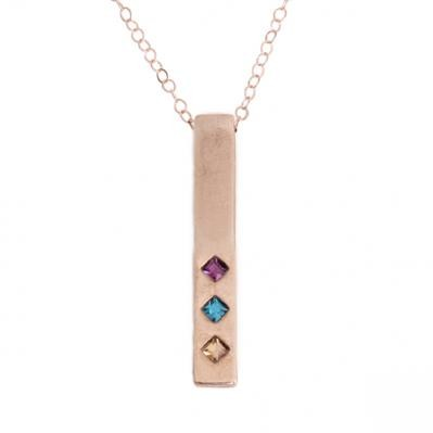 Rose Gold Birthstone Bar Necklace, Family Totem Birthstone Necklace