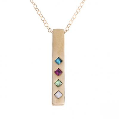 Birthstone Bar Necklace Gold, Family Totem Birthstone Necklace