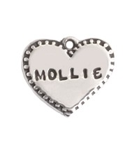 Silver stamped checked heart charm