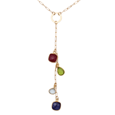 Drop Necklace with Cascading Birthstones
