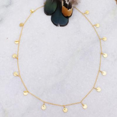 Gold Dangling Coins Necklace