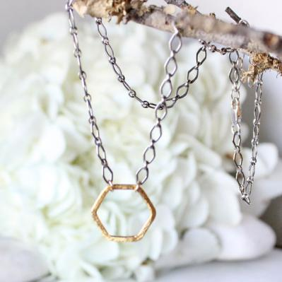 Hex Necklace, Sterling silver necklace with Gold Hexagonal Pendant