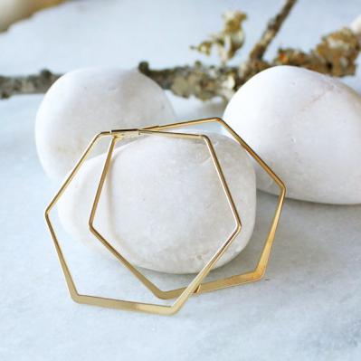hex earrings in gold