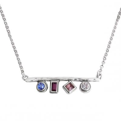 Kaleidoscope Necklace, Silver Birthstone Necklace with 4 Stones