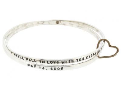 Stackable silver love bangle bracelet