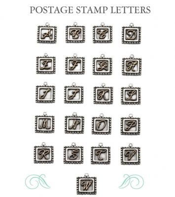 Postage Stamp Initial Charm