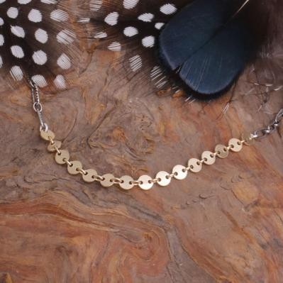 Two Toned Gold and Silver Necklace with Coin Chain