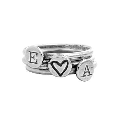 personalized couples rings stacked