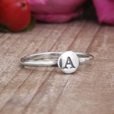Stackable Rings with Initials, Silver Initial Rings