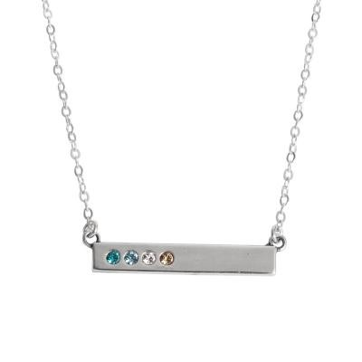 bb41b715a2c37 Silver Bar Necklace with birthstones for Four Children