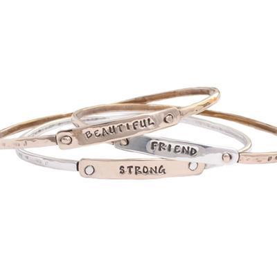 set of three encouragement bangles, stamped
