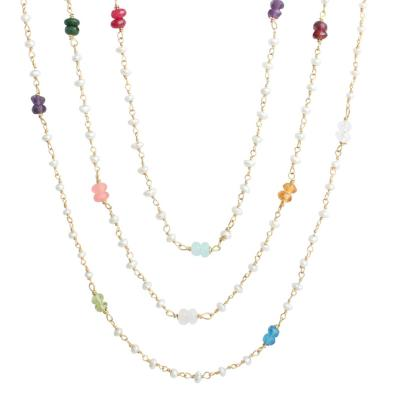 gold pearl family necklace with birthstones