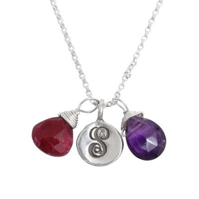 birthstone and initial necklace for grandmother of two