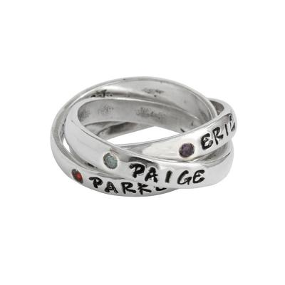 grandmothers birthstone name ring intertwined bands