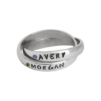 Mothers Name Ring with Flush Set Birthstones - Double