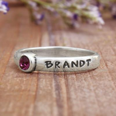 class of birthstone ring personalized with name and school