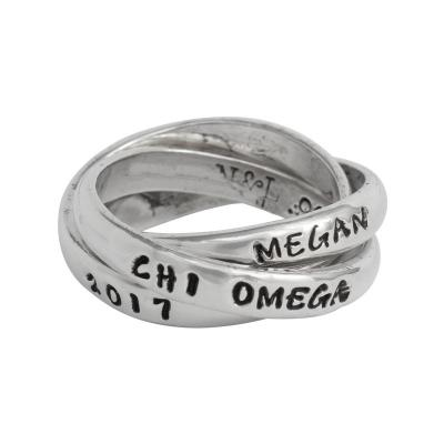 Sterling Silver Chi Omega Sorority Rings, Hand Stamped