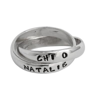 Chi Omega Sorority Rings, Personzalized and Hand Stamped