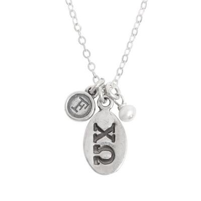 chi omega greek sorority sister initial necklace