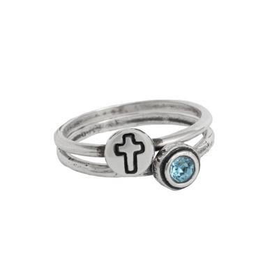 christian faith cross birthstone stackable rings