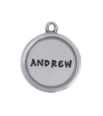 circle stamped charm with name