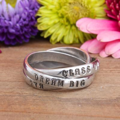Personalized Class Ring, Stamped Graduation Gift